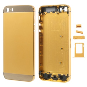 Gold for iPhone 5s Smooth Metal Full Housing w/ Side Buttons SIM Card Tray
