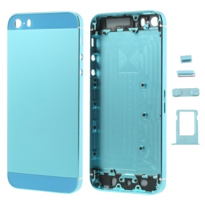Baby Blue Smooth Metal Full Housing for iPhone 5s w/ Side Buttons SIM Card Tray