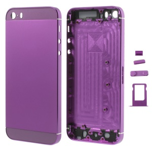 Purple Smooth Metal Full Housing for iPhone 5s w/ Side Buttons SIM Card Tray
