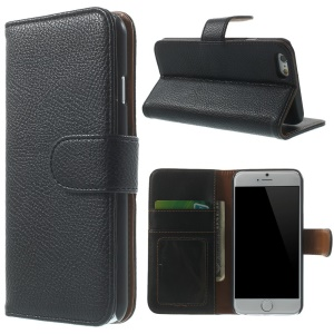 Black Litchi Skin Wallet Leather Stand Case for iPhone 6 4.7 inch