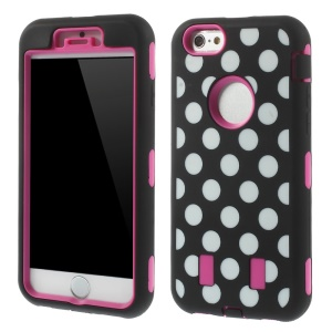 3 in 1 for iPhone 6 4.7 inch Polka Dots PC + Silicone Combo Back Case - Rose
