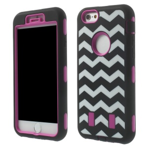 Impact Resistant Wave Pattern Silicone + PC Hybrid Case for iPhone 6 4.7 inch - Rose