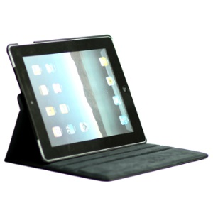 Rotatable Lichee Pattern PU Leather Stand Case with Cutout Logo for New iPad 2 3 4