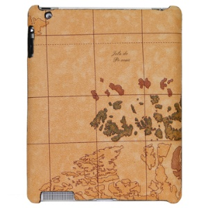 World Map Paster Hard Skin Case for iPad 2