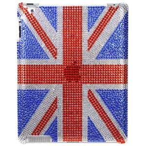 Shiny UK Flag Style Rhinestone Case Cover for iPad 2 3 4