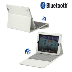 Stylish Bluetooth Keyboard Leather Flip Case for iPad 2 - White