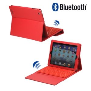 Stylish Bluetooth Keyboard Leather Flip Case for iPad 2 - Red