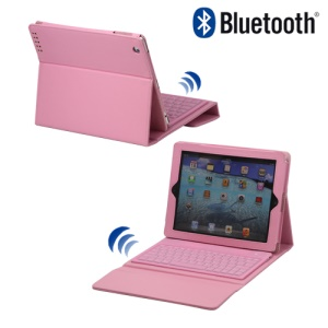 Stylish Bluetooth Keyboard Leather Flip Case for iPad 2 - Pink