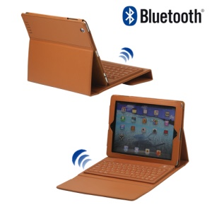 Stylish Bluetooth Keyboard Leather Flip Case for iPad 2 - Brown