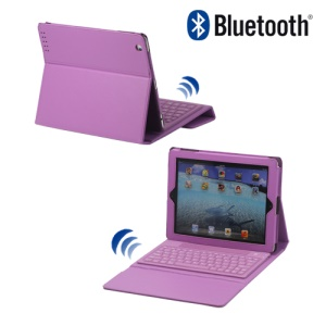 Stylish Bluetooth Keyboard Leather Flip Case for iPad 2 - Purple