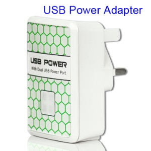 Dual USB Power Adapter AC Wall Charger for iPad / iPhone / iPod / Mobile phone etc (UK Plug)