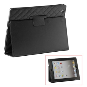 Grid Folio Leather Stand Case for iPad 2 3 4 - Black