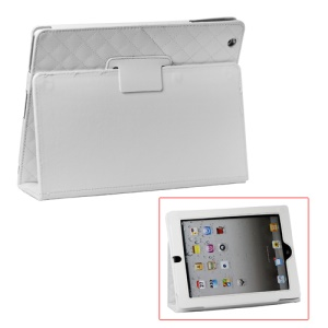 Grid Folio Leather Stand Case for iPad 2 3 4 - White