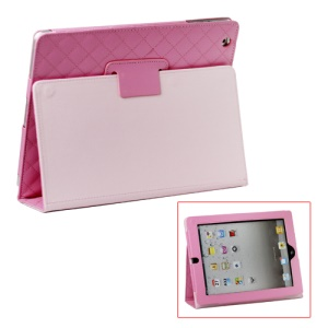 Grid Folio Leather Stand Case for iPad 2 3 4 - Pink