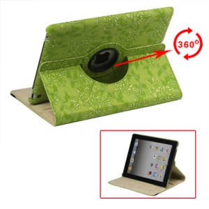 New iPad 2 3 4 Leather Stand Case Cover Flowers Embossing 360 Degree Rotary - Green
