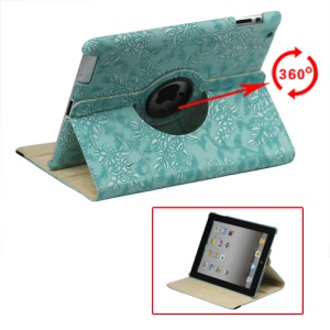 New iPad 2 3 4 Leather Stand Case Cover Flowers Embossing 360 Degree Rotary - Blue