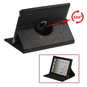 New iPad 2 3 4 Leather Stand Case Cover Flowers Embossing 360 Degree Rotary - Black
