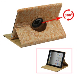 360 Degree Rotary Flowers Embossing Stand Case Leather for New iPad 2 3 4 - Orange