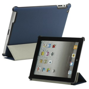 Stylish Leather Smart Cover with Stand for iPad 2 3 4 - Blue