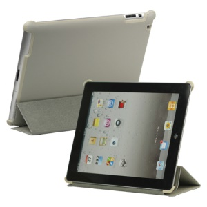Stylish Leather Smart Cover with Stand for iPad 2 3 4 - Grey