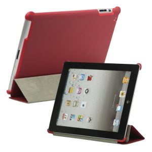 Stylish Leather Smart Cover with Stand for iPad 2 3 4 - Red