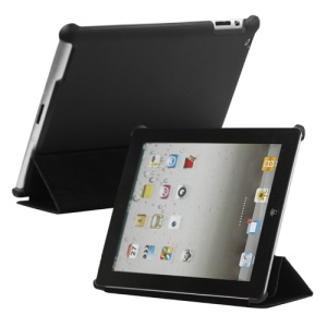 Stylish Leather Smart Cover with Stand for iPad 2 3 4 - Black