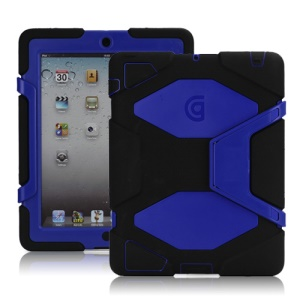 Griffin Survivor Silicone & PC Hard Case for New iPad 2nd 3rd 4th Gen with Stand & Screen Protector - Dark Blue / Black
