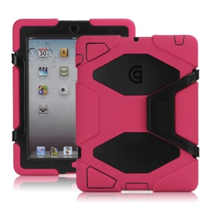 Griffin Survivor Silicone & PC Hard Case for New iPad 2nd 3rd 4th Gen with Stand & Screen Protector - Black / Rose