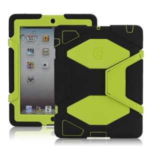 Griffin Survivor Silicone &amp;amp; PC Hard Case for New iPad 2nd 3rd 4th Gen with Stand &amp;amp; Screen Protector - Yellowgreen / Black