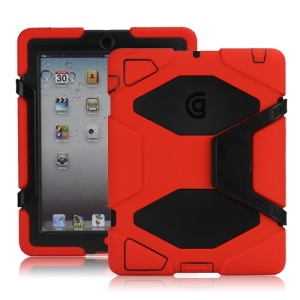 Griffin Survivor Silicone &amp; PC Hard Case for New iPad 2nd 3rd 4th Gen with Stand &amp; Screen Protector - Black / Red