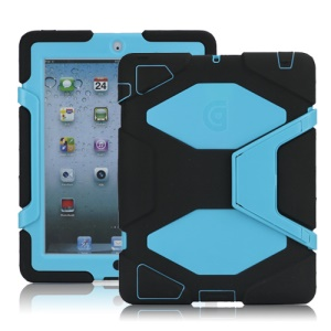 Griffin Survivor Silicone & PC Hard Case for New iPad 2nd 3rd 4th Gen with Stand & Screen Protector - Light Blue / Black