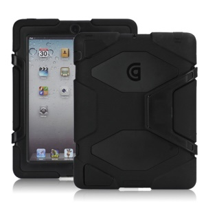 Griffin Survivor Silicone & PC Hard Case for New iPad 2nd 3rd 4th Gen with Stand & Screen Protector - Black