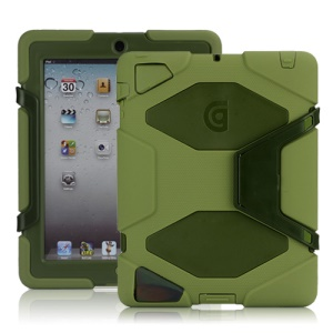 Griffin Survivor Silicone & PC Hard Case for New iPad 2nd 3rd 4th Gen with Stand & Screen Protector - Army Green