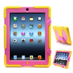 Griffin Survivor Silicone & PC Hard Case for New iPad 2nd 3rd 4th Gen with Stand & Screen Protector - Rose / Yellow