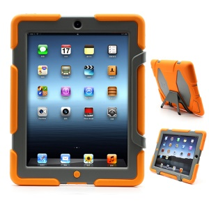 Griffin Survivor Silicone &amp; PC Hard Case for New iPad 2nd 3rd 4th Gen with Stand &amp; Screen Protector - Grey / Orange