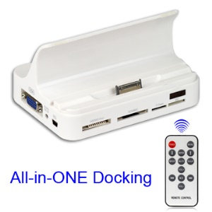 All in One Charging Docking Station with Remote Control for iPad 1 / iPad 2 / iPhone / iPod