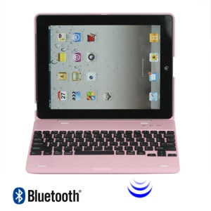 Lastest Wireless Bluetooth Keyboard Plastic Case for iPad 2 3 4 - Pink