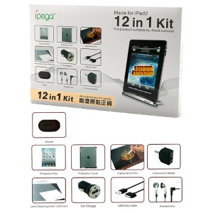 12 in 1 ipega Accessories Kit for iPad 2 / The new iPad (Car Charger + Headphones + Case + Audio Adapter + Folding Stand etc)