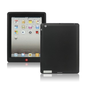 New iPad 2nd 3rd 4th Gen Silicone Case Skin Cover with Home Button - Black