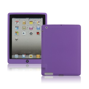 New iPad 2nd 3rd 4th Gen Silicone Case Skin Cover with Home Button - Purple