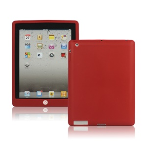 New iPad 2nd 3rd 4th Gen Silicone Case Skin Cover with Home Button - Red