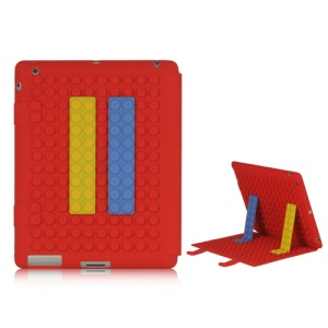 Flexible Building Block Silicone Case Skin Cover Stand for iPad 2 3 4