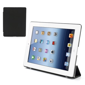 Folio Tri-Fold Leather Smart Cover Stand with Back Hard Case for The New iPad 3 iPad 2 4 - Black