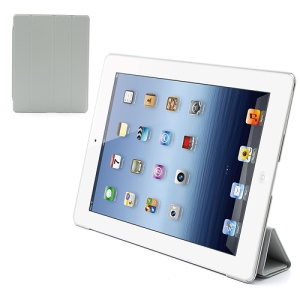 Folio Tri-Fold Leather Smart Cover Stand with Back Hard Case for The New iPad 3 iPad 2 4 - Grey