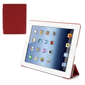 Folio Tri-Fold Leather Smart Cover Stand with Back Hard Case for The New iPad 3 iPad 2 4 - Red
