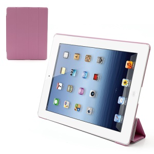 Folio Tri-Fold Leather Smart Cover Stand with Back Hard Case for The New iPad 3 iPad 2 4 - Pink