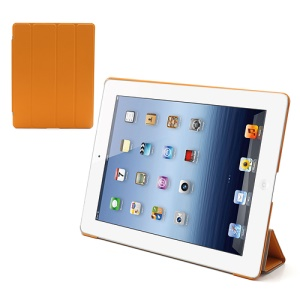 Folio Tri-Fold Leather Smart Cover Stand with Back Hard Case for The New iPad 3 iPad 2 4 - Orange