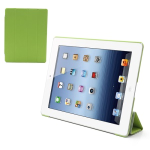 Folio Tri-Fold Leather Smart Cover Stand with Back Hard Case for The New iPad 3 iPad 2 4 - Green