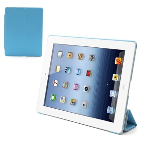Folio Tri-Fold Leather Smart Cover Stand with Back Hard Case for The New iPad 3 iPad 2 4 - Baby Blue