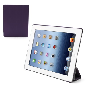 Folio Tri-Fold Leather Smart Cover Stand with Back Hard Case for The New iPad 3 iPad 2 4 - Purple